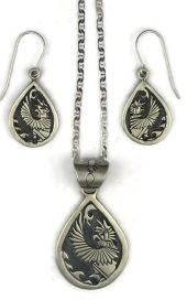 Eagle Dancer Kachina Pendant and Earring Set by Randy Billy from Southwest Silver Gallery