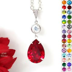 Red Necklace Swarovski Crystal Pendant Necklace Siam Necklace Ruby Necklace Garnet Necklace Bridal Party Jewelry Holiday