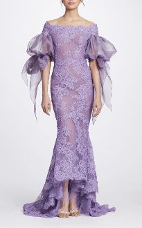 Marchesa Couture Lilac Corded Lace Off Shoulder Fit & Flare Gown M23828
