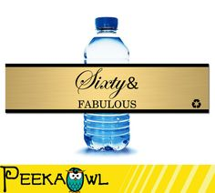 Instant Download Champagne 60th birthday water bottle by PeekaOwl