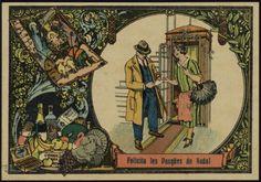 """[La Portera]""""Felicita les Pasqües de Nadal"""". Segle XX. Fons Palau Antiguitats. #Nadal #Christmas #greeting #card"""