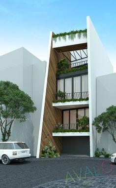 Thiết kế nhà Ống phố An Dương Vương 2017 Townhouse Exterior, Modern Townhouse, Townhouse Designs, Bungalow House Design, House Front Design, Modern House Design, Facade Design, Exterior Design, Narrow House Designs
