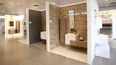 Imagini pentru porcelanosa showroom Tile Showroom, Showroom Design, Office Interior Design, Showroom Ideas, Ceramic Shop, Vanity Design, Exhibition Display, New Shop, Tiles