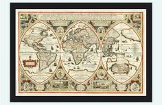 Antique World Map 1618 by OldCityPrints on Etsy, $48.00