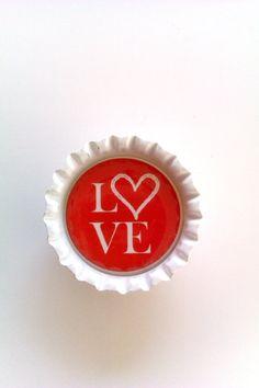 valentines bottle cap magnets