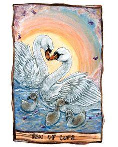 Mute Swan Print Tarot Card Art Ten of Cups 8x10 by rainbowofcrazy, $17.50