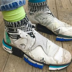 This genuis sole sister Helen Kirkum graduating from Royal College of Art now with her collaged trainers pieced from many worn and loved #rcacohort @helentime www.helenkirkum.com