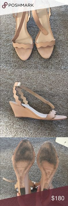 Loeffler Randall Minnie nude sandals 37.5 Beautiful low heel wedge sandals in nude. Great summer sandals to dress up or casual! Love these! A couple of marks on heels. Left shoe has a scuff that has rubbed some of the leather. Very easy to fix with shoemaker!  Originally $350 + tax/shipping Loeffler Randall Shoes Sandals