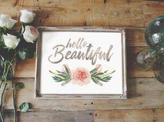 Nursery Print Hello Beautiful Floral Decor by LoveSupplyCo