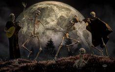 Skeleton Dance, Horror, Dance Of Death, Dancing In The Moonlight, Day Of The Dead Art, Danse Macabre, Star Art, Dark Fantasy Art, Fantastic Art