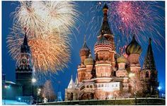 Fireworks Over the Kremlin Moscow Russia Travel Poster 11x17