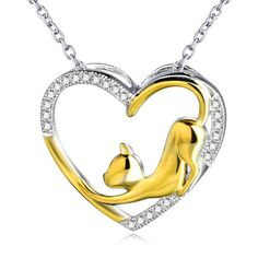 CZ Gold and Silver Cat Heart Pendant