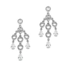 Bridal Chandelier Earings in Silver Crystal by AniandJonBridal