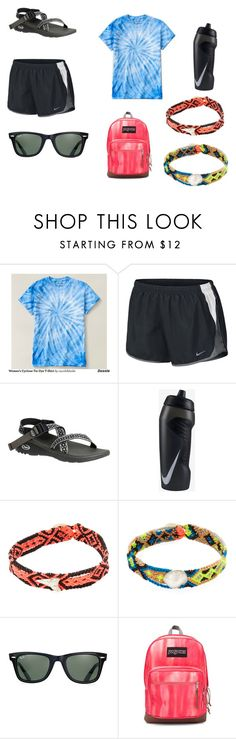 """""""Summer Camp Vibes"""" by marisa-heine ❤ liked on Polyvore featuring NIKE, Chaco, Dezso by Sara Beltrán, Ray-Ban and JanSport"""