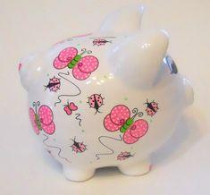 Personalized Piggy Bank Polka Dot Butterflies and Ladybugs in Hot Pink Personalized Piggy Bank, One Stroke Painting, Diy Clock, Clay Pots, Little Girls, Hot Pink, Polka Dots, Ladybugs, Butterfly