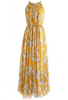 Flower Season Chiffon Maxi Slip Dress in Yellow - DRESS - Retro, Indie and Unique Fashion