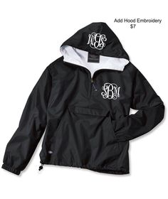 Black Monogrammed Personalized Half Zip Rain Jacket Pullover by Charles River Apparel by LifeAStitch on Etsy https://www.etsy.com/listing/185142936/black-monogrammed-personalized-half-zip