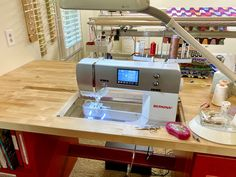 Rebecca Grace Quilting: Giverny Teleidoscope Quilt Progress + Custom Sewing Cabinet Modifications Wait Loss, Maple Butcher Block, Featherweight Sewing Machine, Sewing Cabinet, Sewing Studio, Free Motion Quilting, Cabinet Design, Quilt Top, Needle And Thread