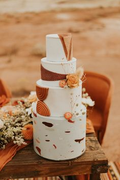 fall wedding color palette rust cake