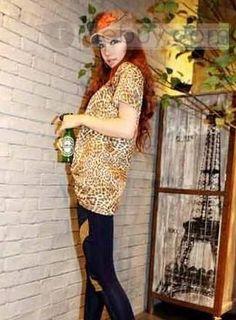 2012年新しい豹柄Tシャツ