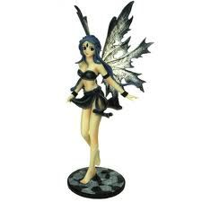 Funky Mika is a Manga fairy who has long blue hair and is wearing a gun metal coloured bra top and short skirt split on one side with grey/black wings.Scale: (H) Enchanted Wood, Fairy Ring, Gothic Fairy, Fairy Figurines, Bra Tops, Blue Hair, Magick, Tinkerbell, Fairies