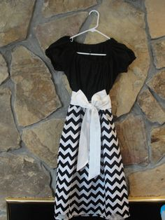 Black and White Chevron Ladies Peasant Dress by JustSewStinkinCute, $54.00