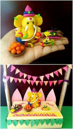 Trendy diy kids crafts clay ideas - Hobbies paining body for kids and adult Arti Thali Decoration, Mandir Decoration, Ganpati Decoration At Home, Ganapati Decoration, Clay Crafts For Kids, Diy Arts And Crafts, Diy For Kids, Diwali Decorations, Festival Decorations