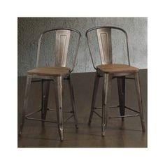 Rustic Bar Stools Industrial Wood Metal Kitchen Counter Height Stool Set Bistro  #CounterHeight #RusticPrimitive