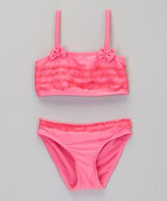 Loving this 2B Real Neon Pink Ruffle Bikini - Infant & Toddler on #zulily! #zulilyfinds