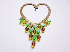 Art Deco Necklace Gold Brass Green Bakelite Amber Glass Dangles Vintage Statement Necklace 1930s Art Deco Jewelry via Etsy