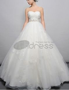 A-Line Tulle Sweetheart Neckline Wedding Dress with Beaded Boned Bodice
