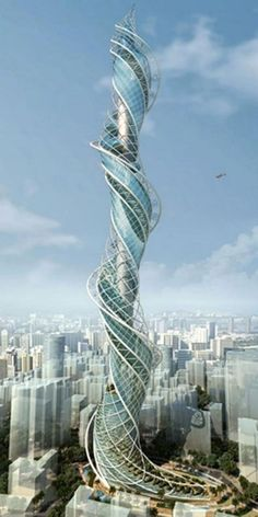 Wadala Tower, Mumbai, India -- original plans were for one kilometer high -- now, not so much -- but ambitious and interesting -- organic!