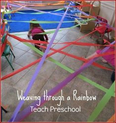 Using our whole bodies to weave through this beautiful rainbow made by our preschool students.