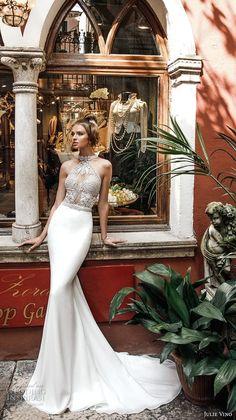julie vino spring 2018 bridal sleeveless halter neck heavily embellished bodice elegant chic fit and flare sheath wedding dress rasor back chapel train (11) mv