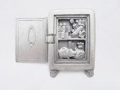 Vintage Brooch AJC Safe Silver Pewter *RARE* Rhinestones Money Ring Piggy Bank…