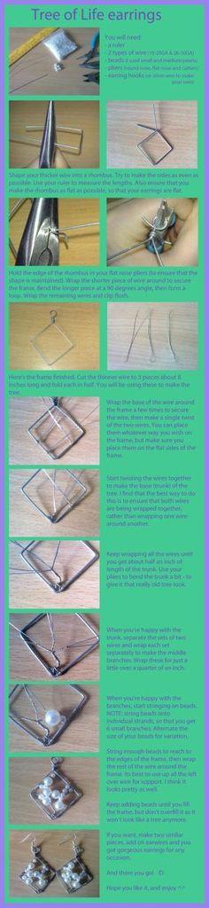Árvore da vida brinco tutorial.  #Jewelry Fazendo projeto do fio.  por Anette Nettan Carlsson