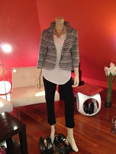 "Here we go ladies.... As promised, here is the first picture from yesterday's ""hostess capsule"": (And as it happens - my favorite outfit right now) CAbi Pique Pant, Eliza Blouse and Jacket Du Jour. Both pant and jacket are super stretchy, hence so incredibly comfortable to wear. (note, pant does not bag out to become unsightly, although it does have a bit of spandex with the cotton) And then the Eliza Blouse, what can I possibly say other than, I love love love love love it."