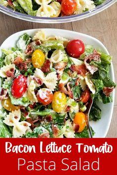 The Greek Yogurt Ranch Dressing makes this a much healthier Blt Pasta SALAD!