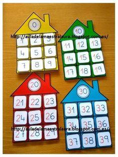 Hoy os muestro más material ABN: CASITAS DE LAS FAMILIAS En clase trabajamos la tabla del 100 con ayuda del proyector y la p... Montessori Math, Preschool Curriculum, Preschool Learning, Kindergarten Math, Teaching Aids, Teaching Math, Math Games, Preschool Activities, 1st Grade Math
