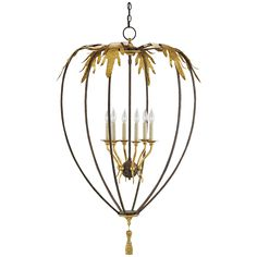 Currey and Company Sweetbrier Molé Rust Spanish Gilt Chandelier 9210
