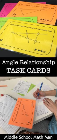 This set of middle school math angle relationship task cards includes over 75 different cards. Students use their knowledge of supplementary angles, vertical angles, and angles in triangles and other polygons to find missing angles. The resource includes