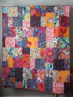 Kaffe Fassett Quilt-Cotton Anniversary Gift- Modern Throw Quilt- Homemade Quilt- Colorful Quilt-Boho Quilt-Quilt For Mom- Modern Lap Quilt Boy Quilts, Girls Quilts, Patchwork Quilting, Scrappy Quilts, Longarm Quilting, Bohemian Quilt, Neutral Quilt, Cotton Anniversary Gifts, Homemade Quilts