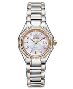 Citizen Women's Signature Octavia Eco-Drive Diamond (1/2 ct. t.w.) Two Tone Stainless Steel Bracelet Watch 29mm EW2096-57D - Watches - Jewelry & Watches - Macy's