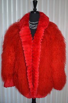 Vtg Red Mongolian Fur Tibetan Lamb Shaggy Fringe by Vtgantiques, $419.00