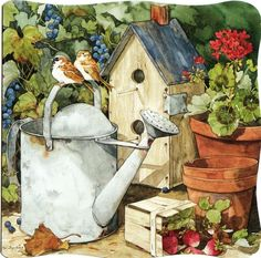 Garden - watering can, birds and birdhouse