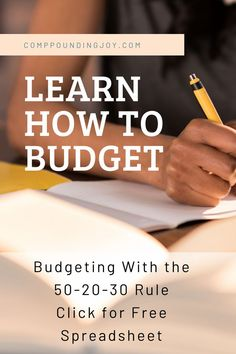 Learn how to budget with the simple and effective 50-20-30 budget rule. Stop struggling with your finances - start using this easy to navigate free spreadsheet created by Compounding Joy. | Budgeting | Personal Finance | 50-20-30 Budget Rule | Compounding Joy | #budgeting #finance #spreadsheets #compoundingjoy