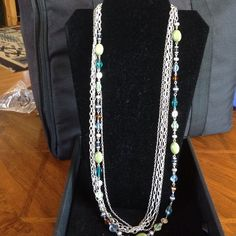 "Premier Designs ""Costa Rica"" necklace Premier Designs ""Costa Rica"" necklace; glass, acrylic, and beads, 32"" five-strand necklace with 4"" extender with lobster-claw closure; stunning piece! Worn once. Premier Designs  Jewelry Necklaces"