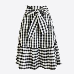 Tie-waist midi skirt in black & white gingham
