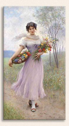 EUGENE DE BLAAS, Çiçek Sepetli ve Leylak Rengi Elbiseli Kız tablosu