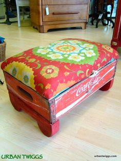 Soda crate footstool with hinged top